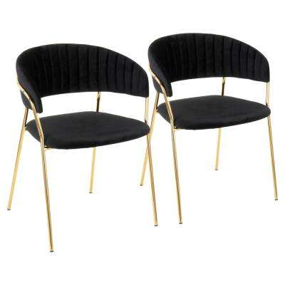 Tania Gold with Black Velvet Arm Chair (Set of 2)