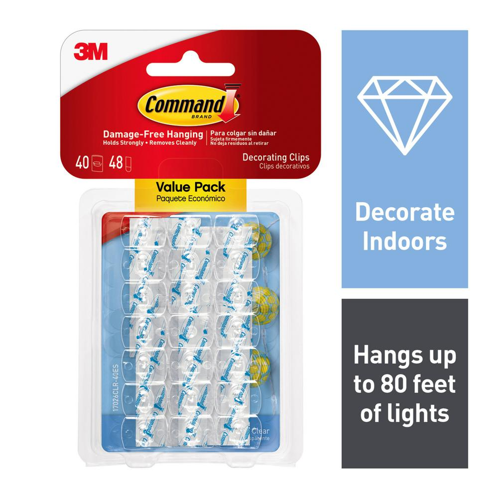 Command Clear Decorating Clips Value Pack (40 Clips, 48 Strips-Pack)