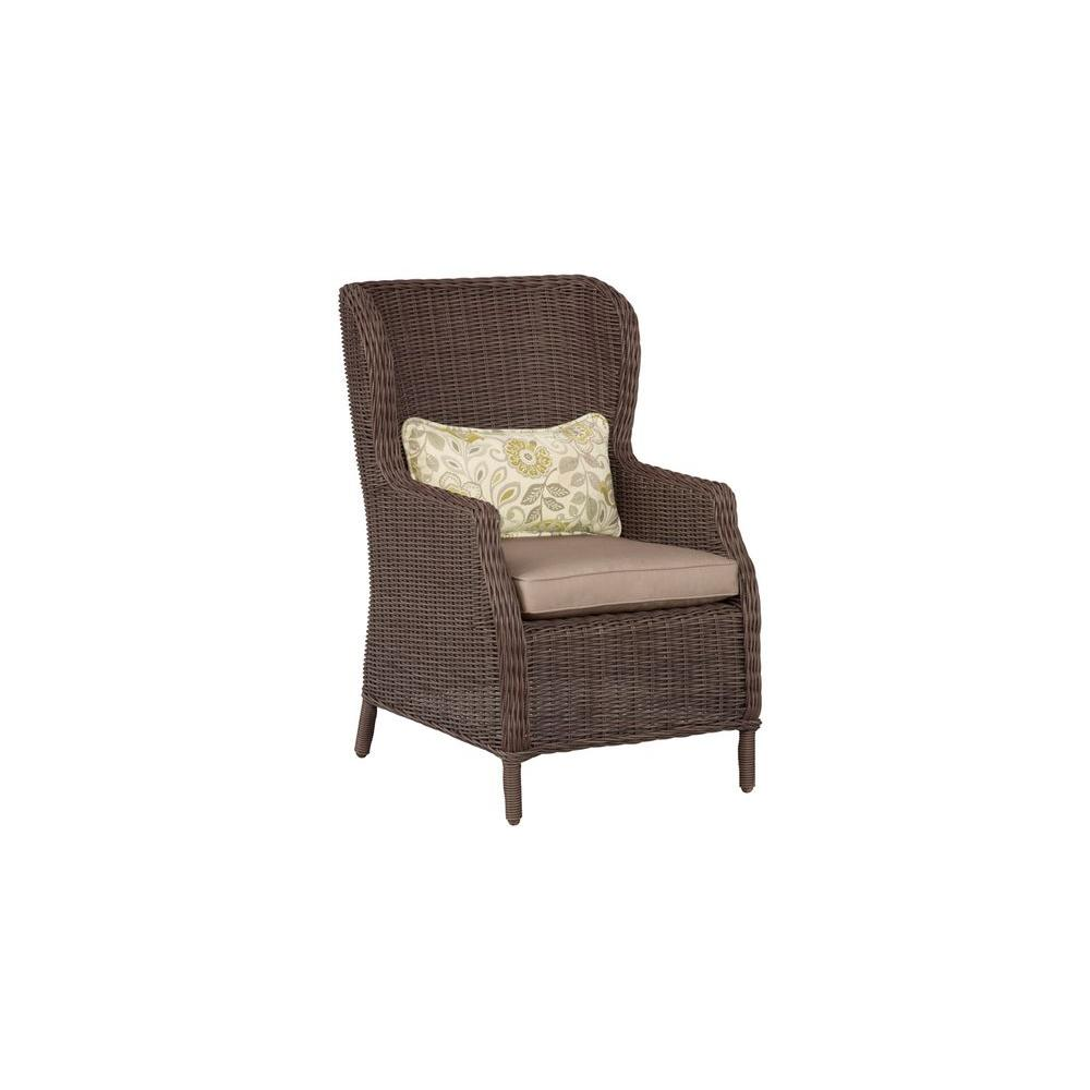 Vineyard Patio Cafe Chair in Sparrow with Aphrodite Spring Lumbar Pillow