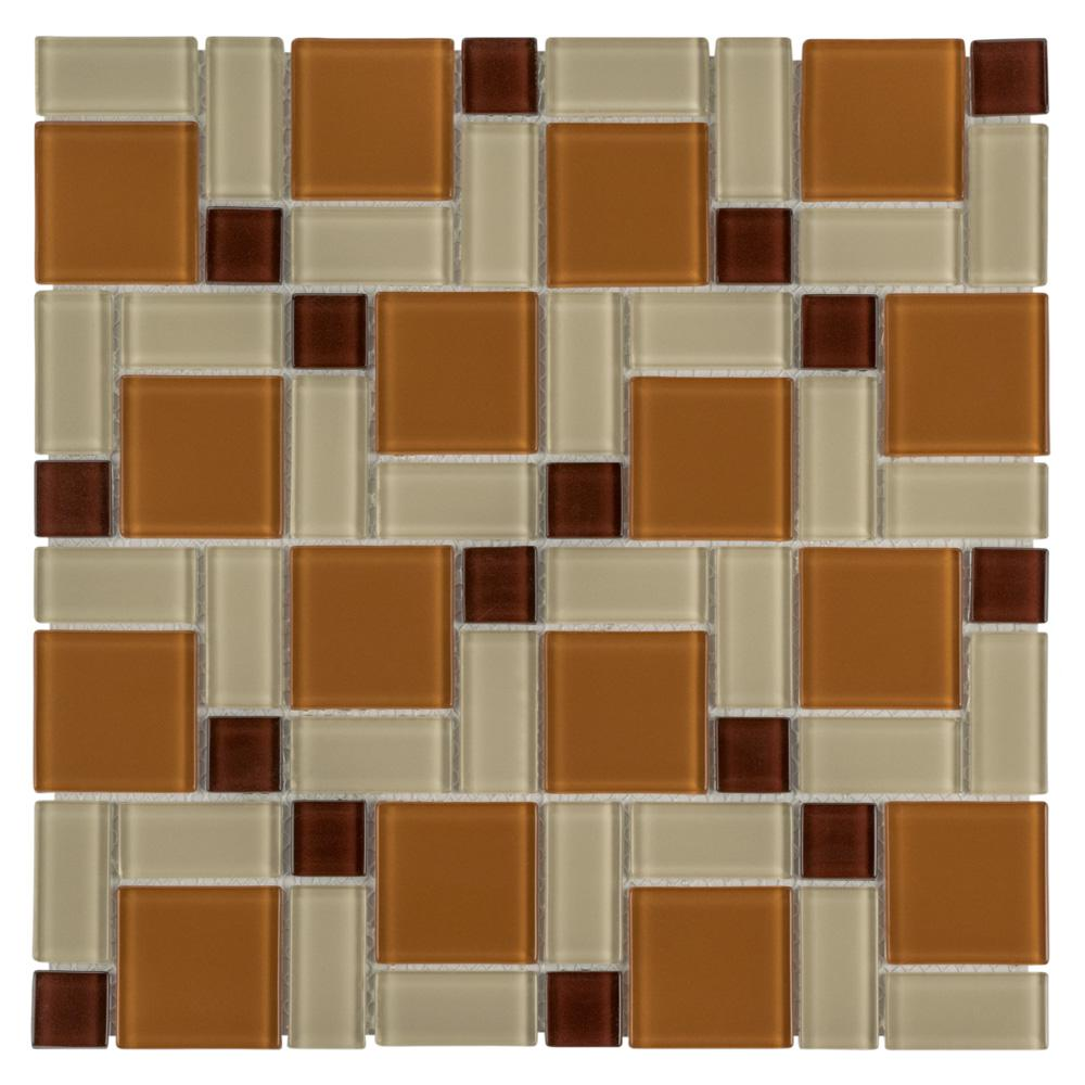 excellent orange bathroom floor | Merola Tile Spectrum Block Suntan 11-3/4 in. x 11-3/4 in ...