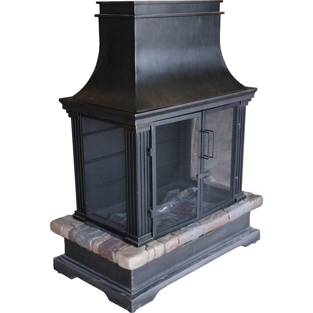 hampton bay sevilla 36 in steel and slate wood burning outdoor