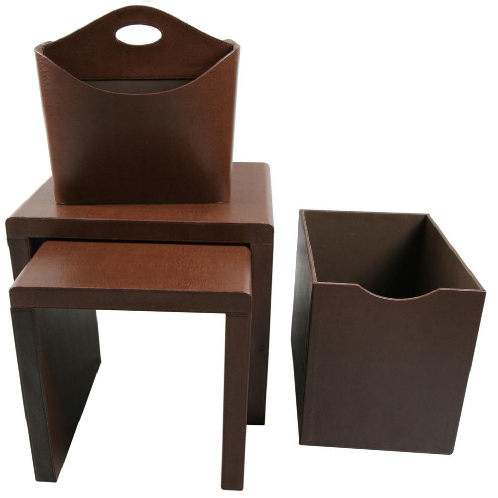 Upscale Designs Medium Brown Side Table (Set of 4)