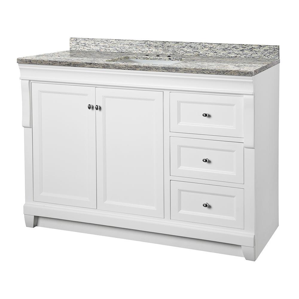 Naples 49 in. W x 22 in. D Vanity in White with Granite Vanity Top in Santa Cecilia with White Sink