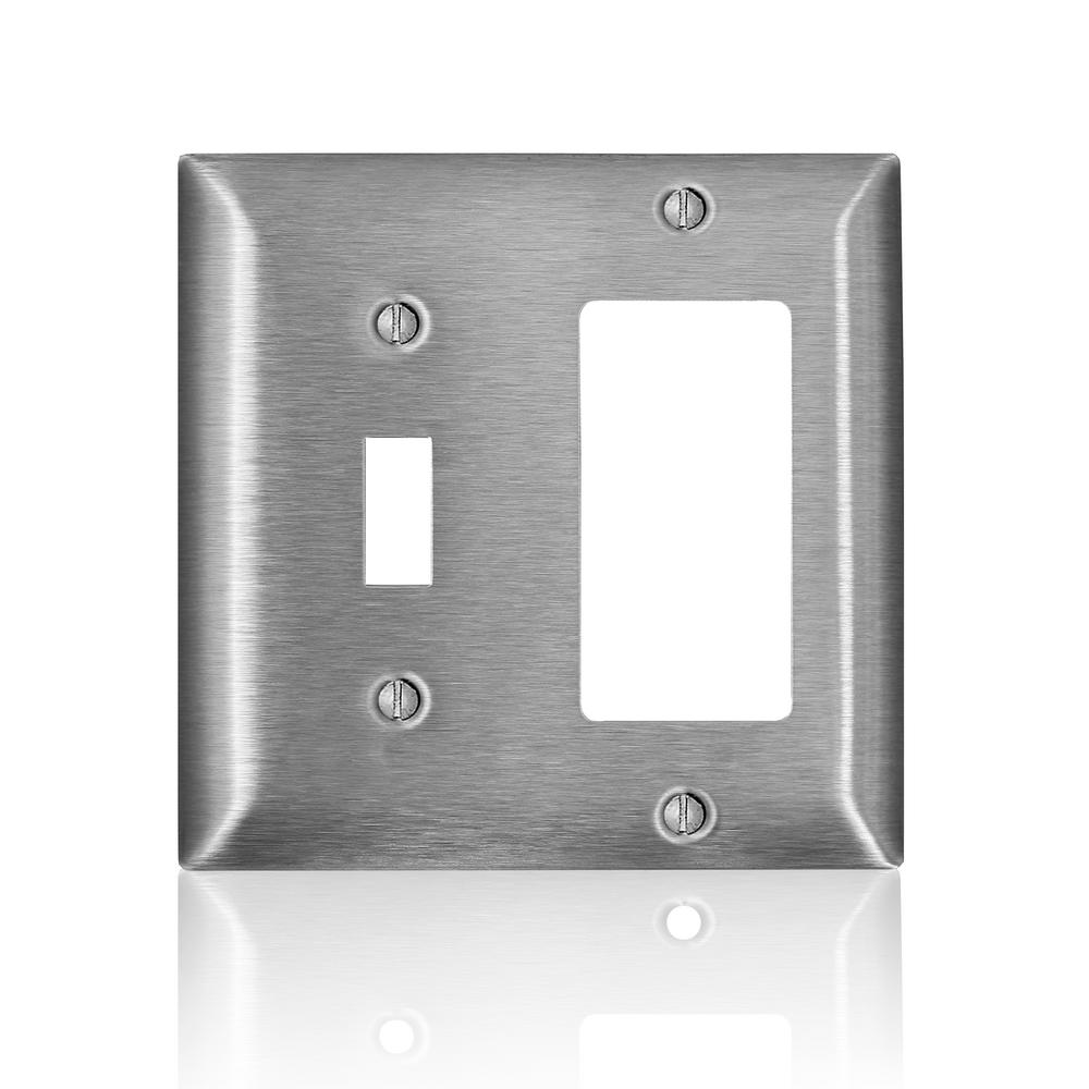 3 GANG COMBO SWITCH DUPLEX DECORA GFCI PLUG OUTLET STAINLESS STEEL COVER PLATE