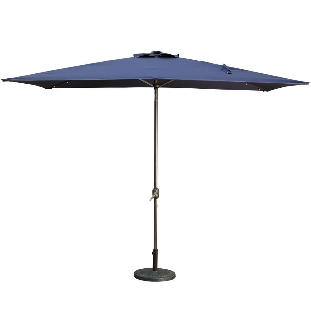 10 ft. Aluminum Rectanglar Market LED Patio Umbrella in Navy Blue