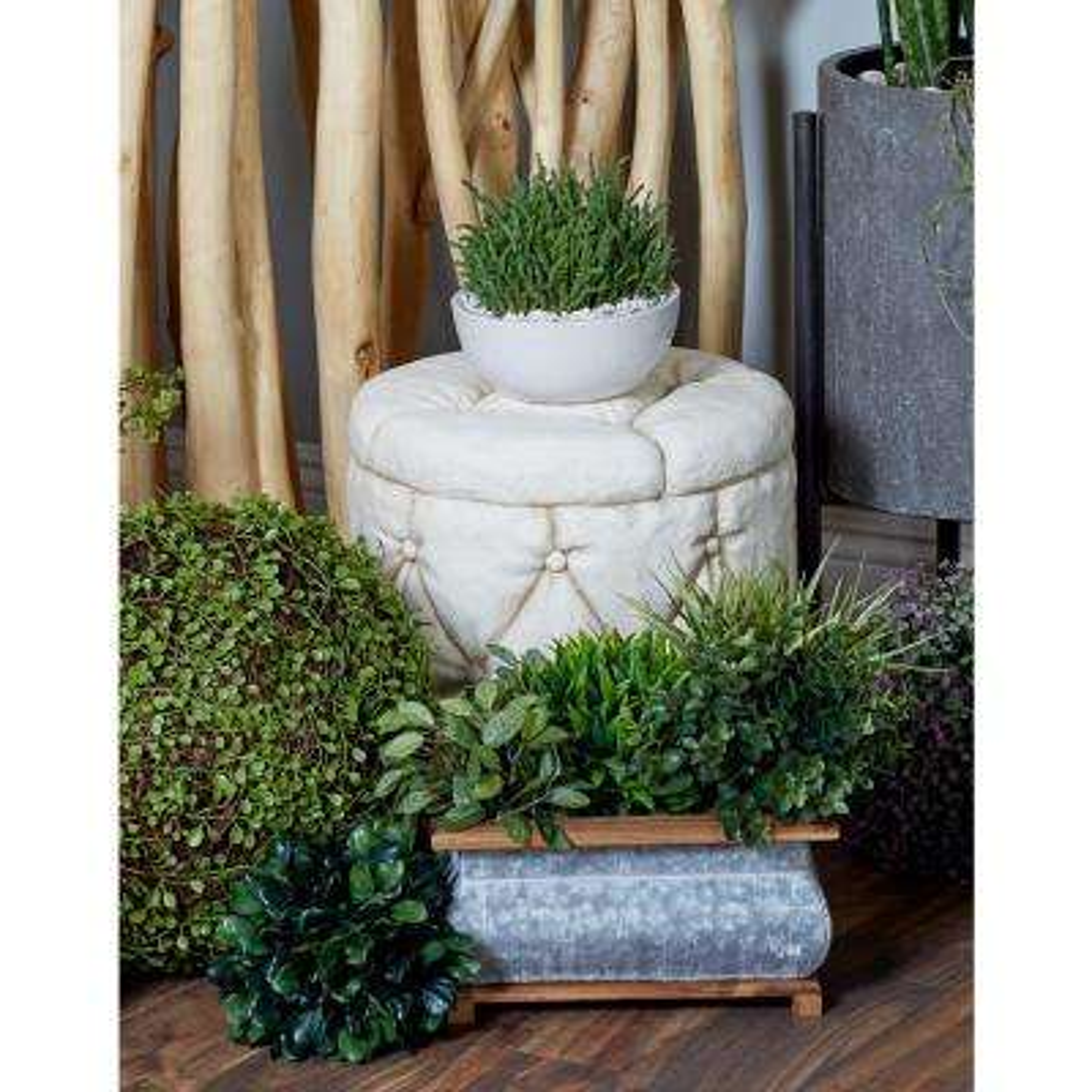 White Round Tufted Ottoman-Inspired Garden Stool