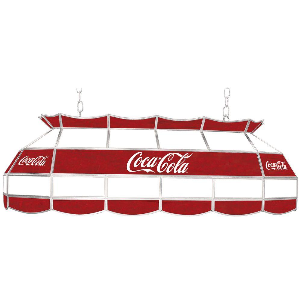 Trademark Coca Cola 3-Light Stained Glass Hanging Tiffany Lamp