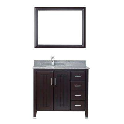Jackie 36 in. Vanity in Chai with Marble Vanity Top in Chai and Mirror