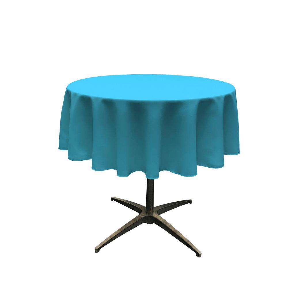 LA Linen Polyester Poplin Dark Turquoise 51 In. Round Tablecloth