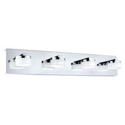Romendo 4-Light Chrome/Clear and Satin Glass LED Bath Light