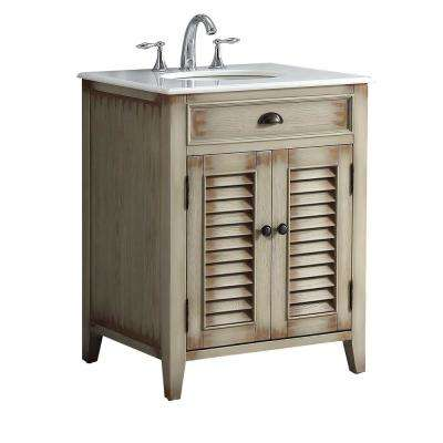 Palm Beach 26 in. W x 21.75 in. D Vanity in Distressed Beige with Marble Vanity Top in White with White Basin