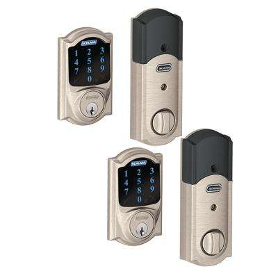 Camelot Satin Nickel Connect Smart Lock with Alarm (2-Pack)