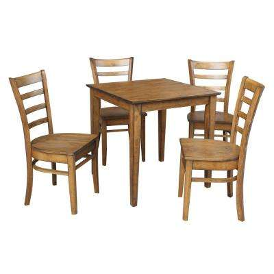 Dining Essentials 5-Piece Distressed Pecan Solid Wood Set