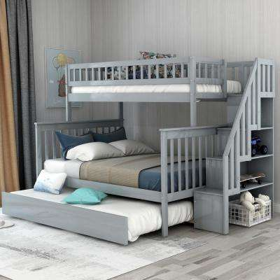Grey Twin Over Full Stairway Bunk Bed with Trundle