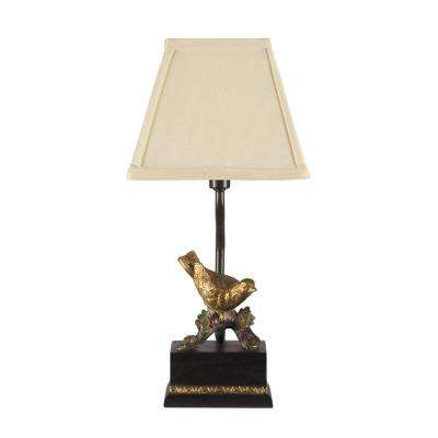 Gold Leaf And Black Table Lamp