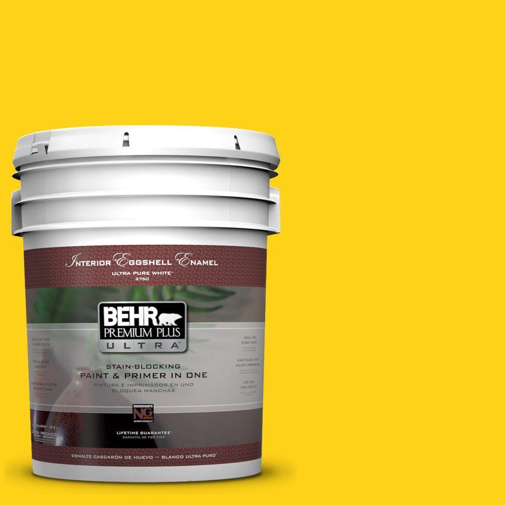 BEHR Premium Plus Ultra 5-gal. #S-G-390 Lemon Zest Eggshell Enamel Interior Paint