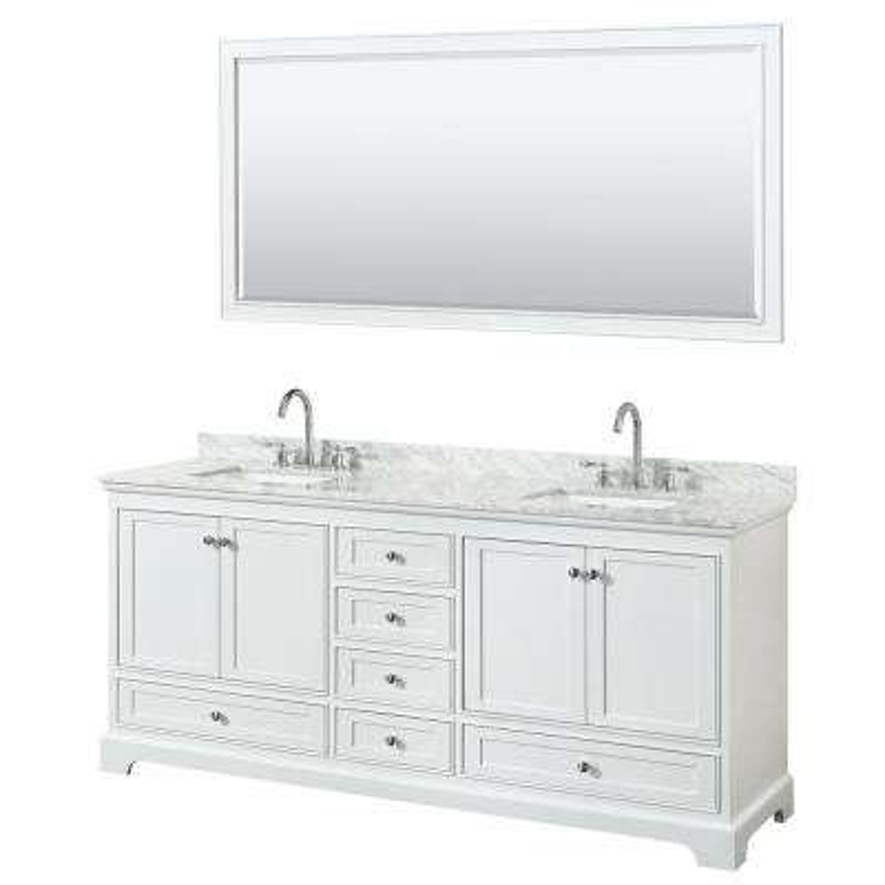Deborah 80 in. Double Vanity in White with Marble Vanity Top in White Carrara with White Basins and 70 in. Mirror