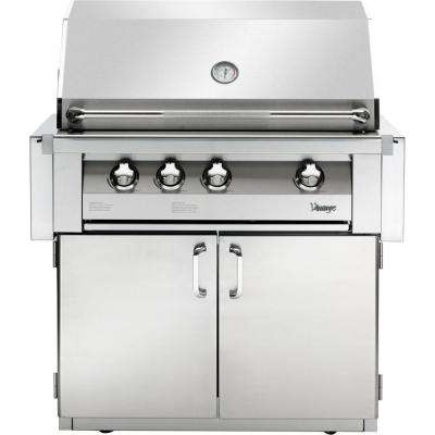 36 in. 4-Burner Natural Gas Grill in Stainless with Sear Zone and 2-Door Cart