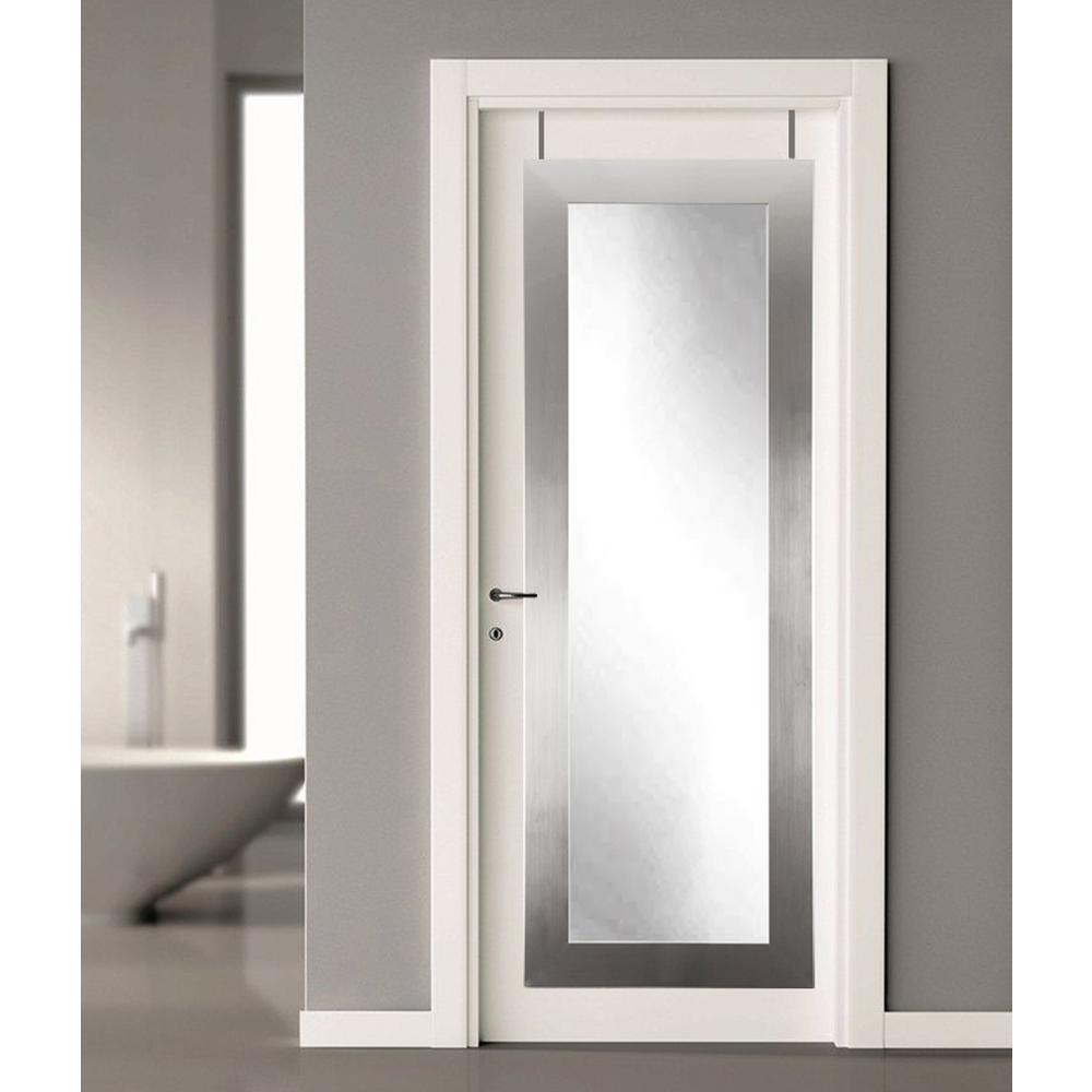 brandtworks 21 5 in x 71 in silver over the door full length framed mirror bm1thinh the home. Black Bedroom Furniture Sets. Home Design Ideas