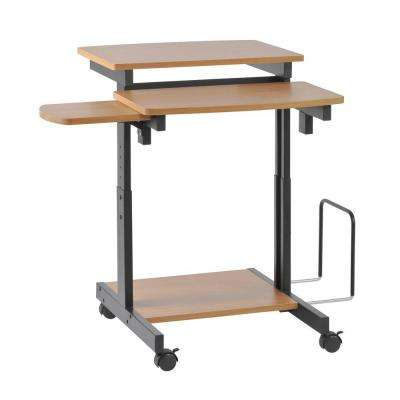 34 in. H x 31.5 in. W x 31.5 in. D Capri Series Beech and Black Compact Computer Desk