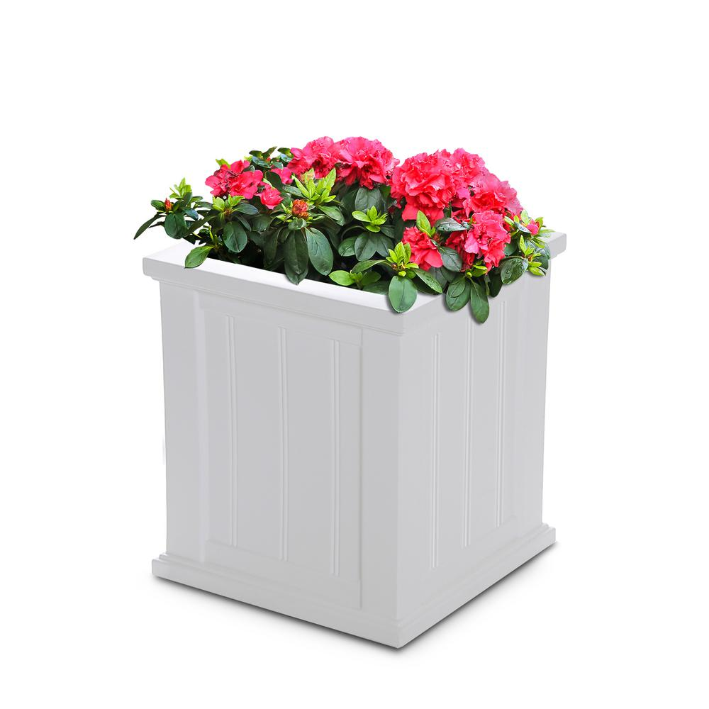 Mayne Cape Cod 16 In Square White Plastic Planter 4837 W The Home