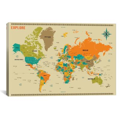 """New World Map"" by Jazzberry Blue Canvas Wall Art"
