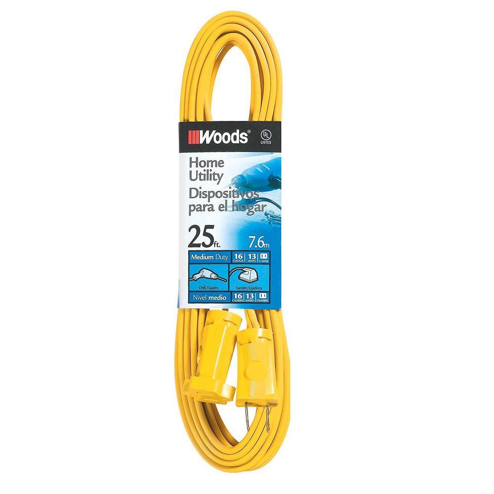 25 ft. 16/2 SPT-2 Flat Vinyl Extension Cord, Yellow