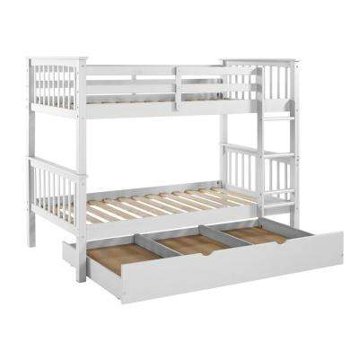 Solid Wood White Twin Bunk Bed with Trundle Bed