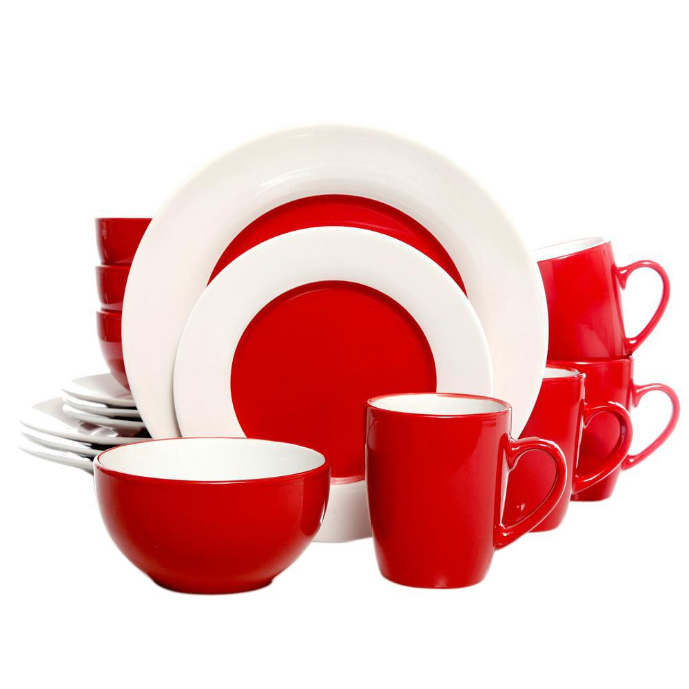 GIBSON HOME Style Deluxe 16-Piece Red Dinnerware Set  sc 1 st  Home Depot & GIBSON HOME Style Deluxe 16-Piece Red Dinnerware Set-98597327M - The ...