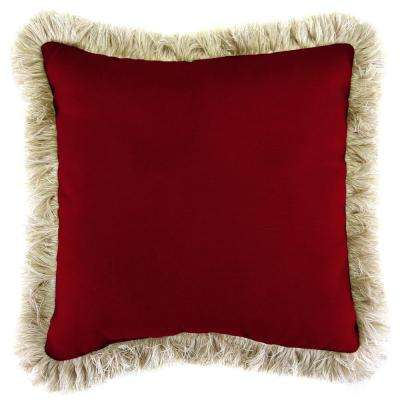 Sunbrella Canvas Henna Square Outdoor Throw Pillow with Canvas Fringe