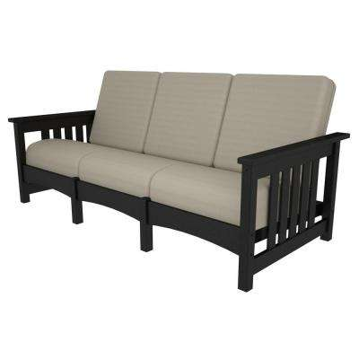 Mission Black Patio Sofa with Bird's Eye Cushions