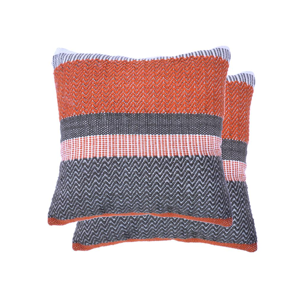 18 in. Orange Stripe Square Outdoor Throw Pillow (2-Pack)