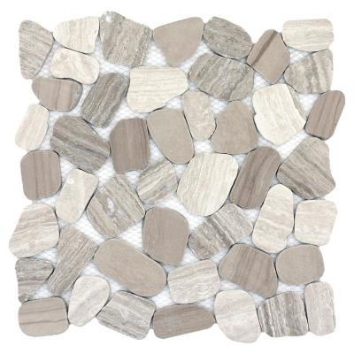 Cultura Autumn Honed and Tumbled 11.81 in. x 11.81 in. x 8 mm Pebbles Mesh-Mounted Mosaic Tile (1 sq. ft.)