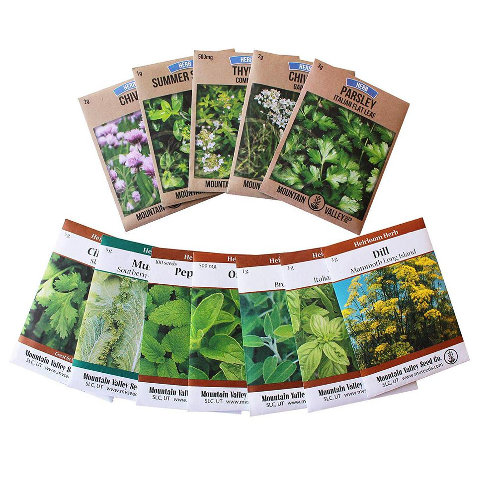 Mountain Valley Seed Company Grow Cooking Herbs, Parsley, Thyme, Cilantro, Basil, Dill, Oregano, Sage and More Assortment of 12 Culinary Herb Seeds