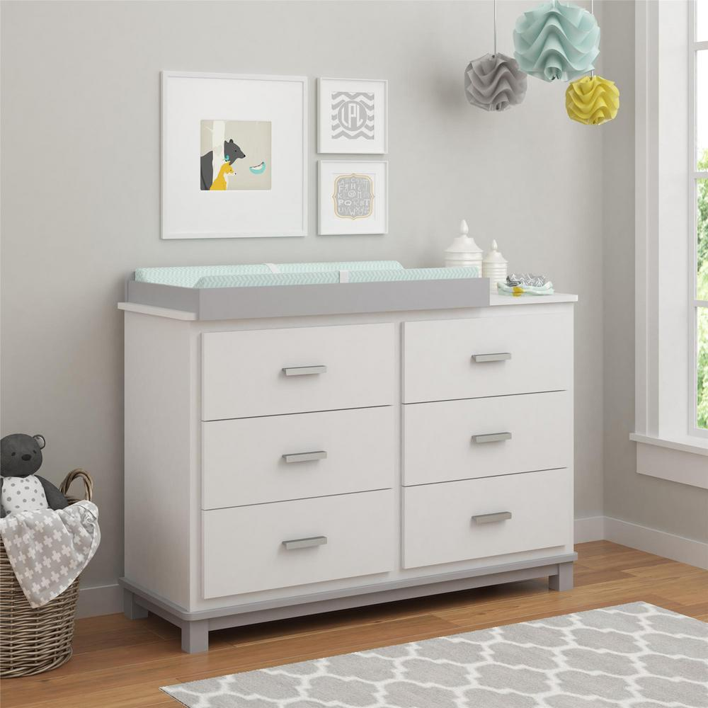 Cosco Leni 6-Drawer Light Gray Changing Table