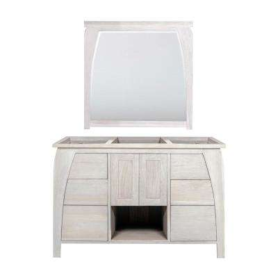 Tranquility 48 in. W Teak Vanity Bath Cabinet Only With Mirror in Driftwood