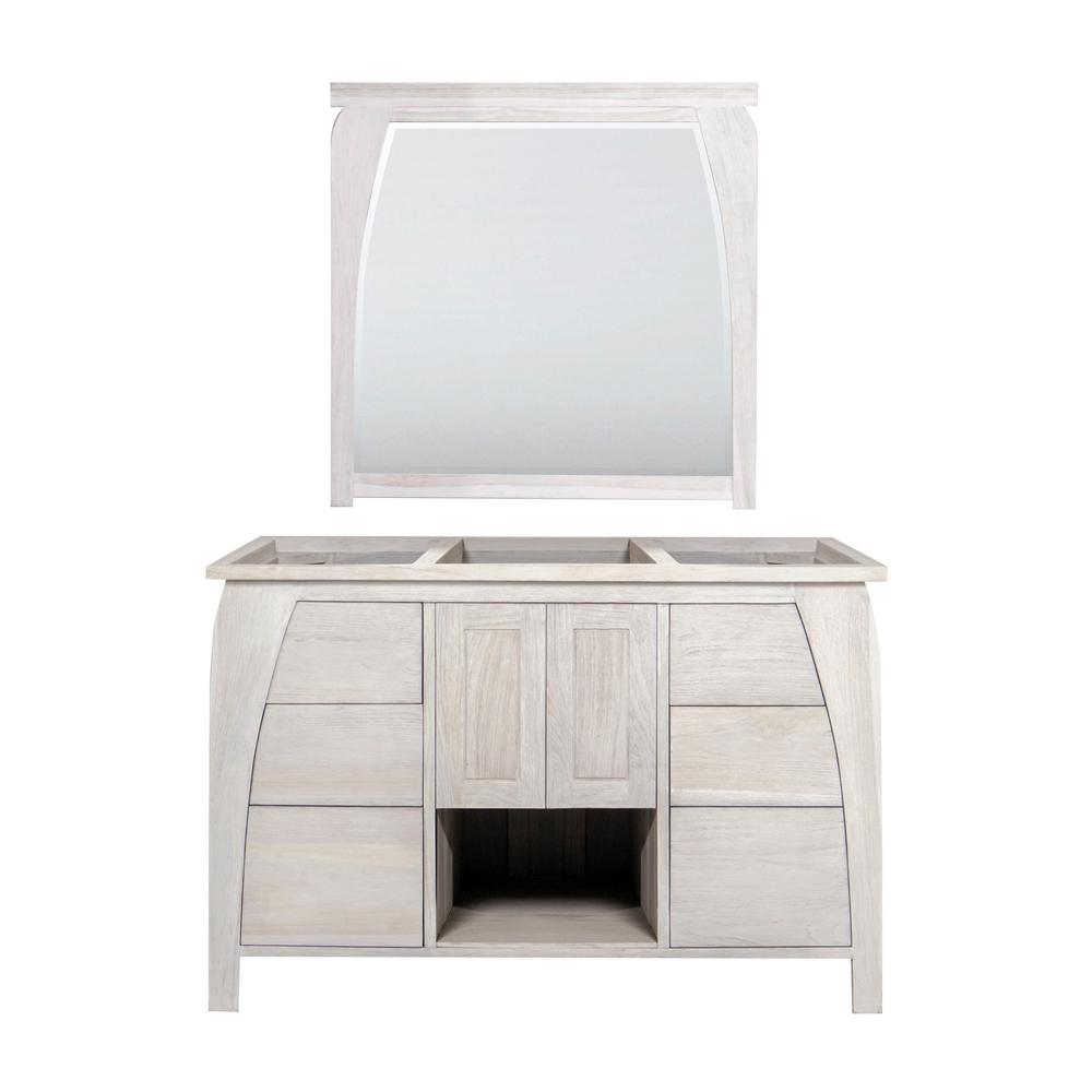W Teak Vanity Bath Cabinet Only With Mirror In Driftwood