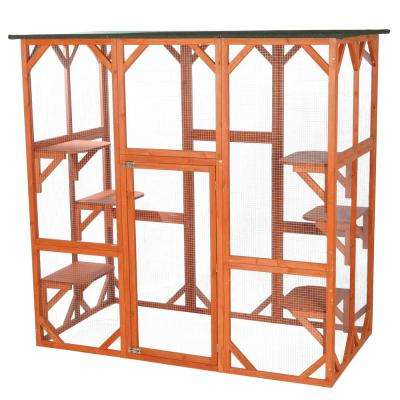 70.75 in. x 38.5 in. x 70.75 in. Wooden Outdoor Cat House