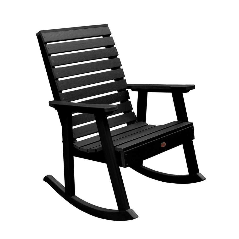 Highwood Weatherly Black Recycled Plastic Outdoor Rocking Chair