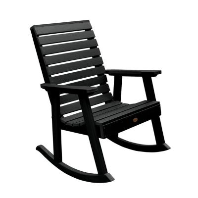 Weatherly Black Recycled Plastic Outdoor Rocking Chair