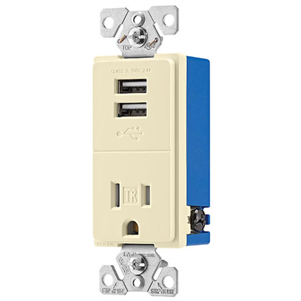 2.4 Amp USB Charger with Single Receptacle, Almond
