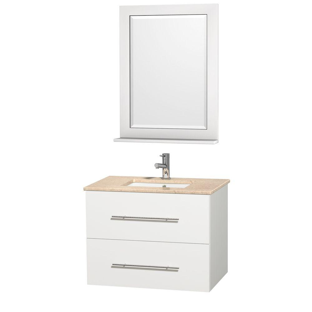Wyndham Collection Centra 30 in. Vanity in White with Marble Vanity Top in Ivory and Undermount Sink