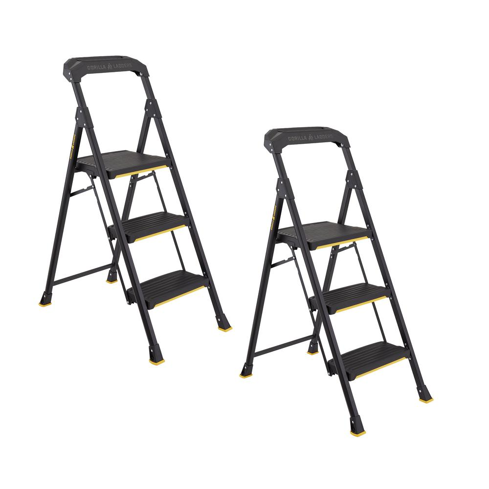 Gorilla Ladders 3-Step Pro-Grade Steel Step Stool, 300 lbs. Load Capacity Type IA Duty Rating (2-Pack)