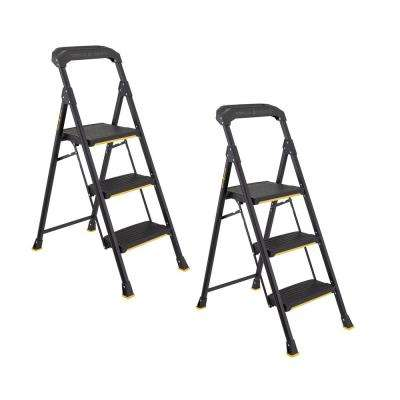 3-Step Pro-Grade Steel Step Stool, 300 lbs. Load Capacity Type IA Duty Rating (2-Pack)