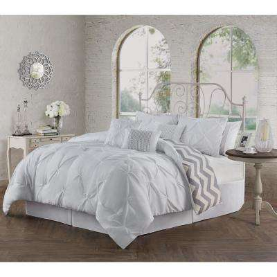 Ella Pinch Pleat White King 7-Piece Comforter