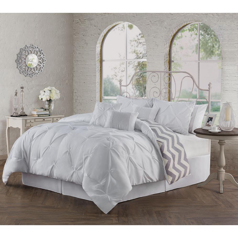 Ella Pinch Pleat White King 7-Piece Comforter