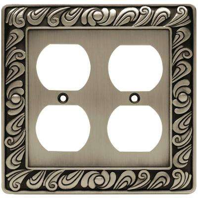 Paisley Decorative Double Duplex Outlet Cover, Brushed Satin Pewter