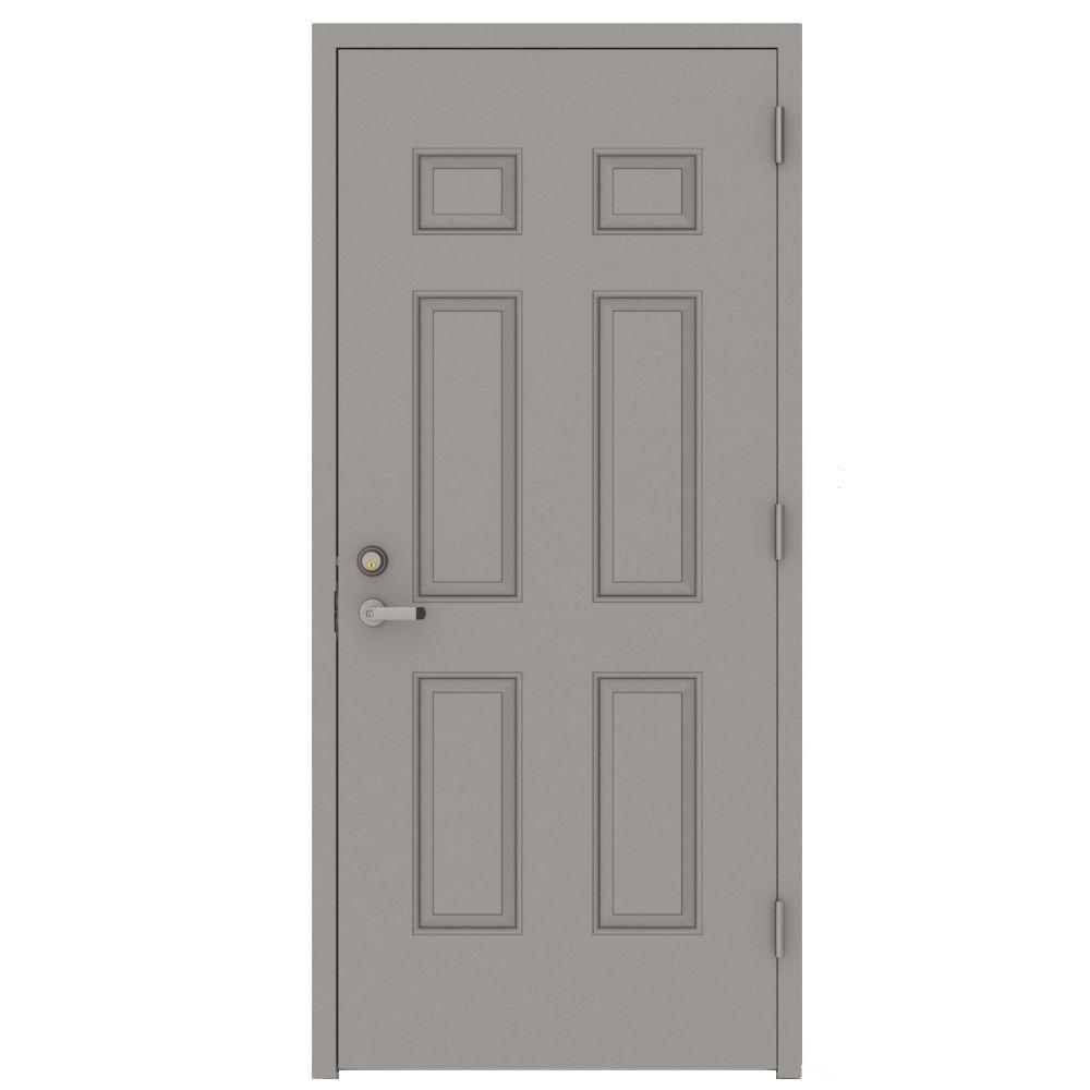 30 in. x 80 in. Gray Left-Hand 6-Panel Security Steel Prehung