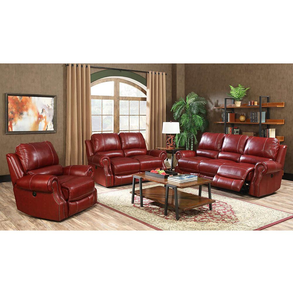 Three Rooms Of Furniture: Cambridge Rustic 3-Piece Wine Sofa, Loveseat And Recliner