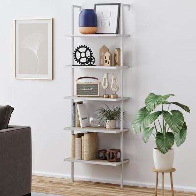 Theo Gray 5-Shelf Ladder Bookcase with White Metal Frame